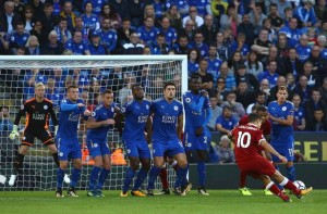 Coutinho sut phat leicester vs liverpool