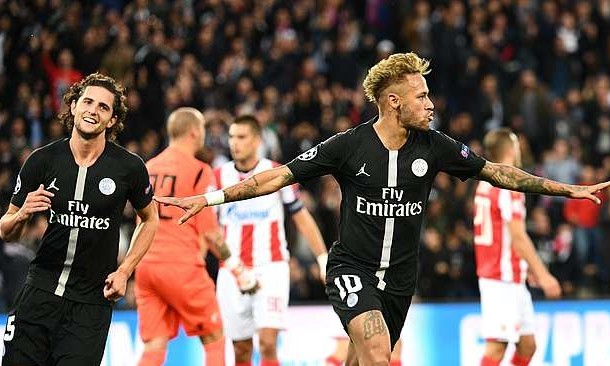 Neymar Red Star Belgrade vs PSG